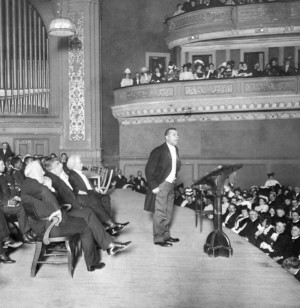 Booker T. Washington holds the audience spellbound during his ...