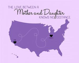 Custom Map, Gift for Mom or Daughter - 8x10 Custom Art Print, Long ...
