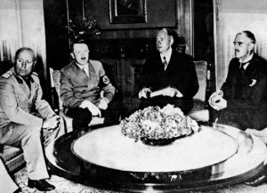 ... Neville Chamberlain of the United Kingdom meet in Munich, Germany, on