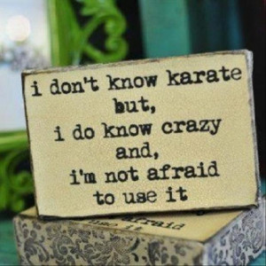 funny quotes, i do not know karate, but i know crazy and i am not ...