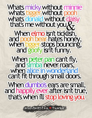 ... ever after, love, loving you, peter pan, pooh bear, quote, simba, text
