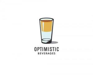 funny, glass half full, half full, logo, optimistic beverages logo ...