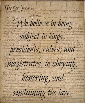 ARTICLE 12-We believe in being subject to kings, presidents, rulers ...