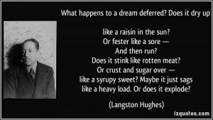 happens to a dream deferred? Does it dry up like a raisin in the sun ...