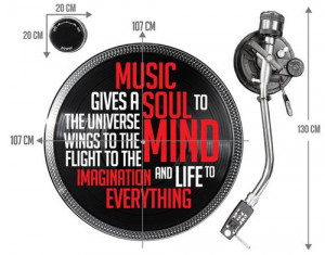 Dj Mixer Vinyl Spinner Music Wall Sticker with Quote