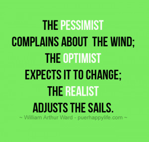 Life Quote: The pessimist complains about the wind; the optimist…