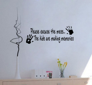 Please excuse the Mess Kids Decor vinyl wall decal quote sticker ...