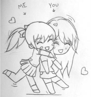 Drawings Of Best Friends Hugging Best friends sketch by emi-ii