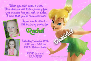 Tinkerbell Birthday Invitations Stardust - Pink/Purple