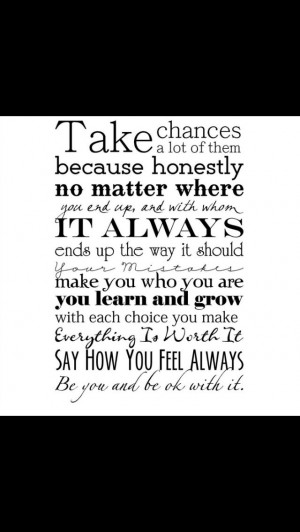 Taking chances quote for project life
