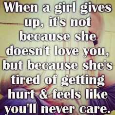Tired of getting hurt, tired of being used, tired of coming second to ...