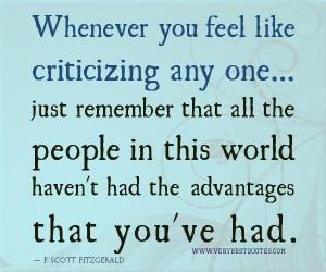 Empathy quotes criticizing quotes whenever you feel like criticizing ...