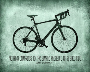 ... Bicycle Silhouette Graphic JFK Quote Cycling Simple Pleasure of a Bike