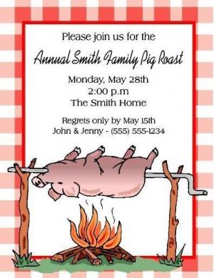 Pig Roast Party Invitations