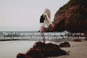 ... Is,No Matter how often I lie and say I've given up ~ Break Up Quote
