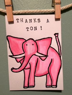 Thank You Card Thanks Funny Elephant Blank