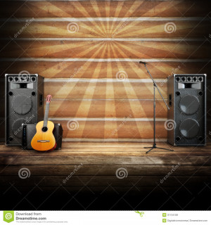 Country music stage or singing background, microphone, guitar and ...