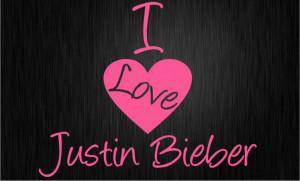 LOVE JUSTIN BIEBER - Wall quote art sticker - Kids bedroom Heart ...