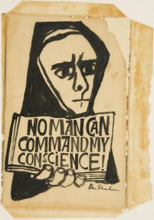 Ben Shahn, No Man Can Command My Conscience, drawing