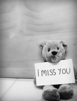 miss You card and Teddy Bears Black and white photo