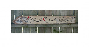 Wood Sign Sayings Sing to the Lord Psalm 96 Red Birds