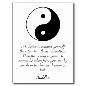 Famous Buddha Quotes - Conquer Yourself Post Cards