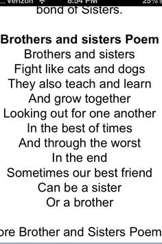 Brothers and sisters fight like cats and dogs but they always get ...