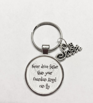 ... Guardian Angel Can Fly Sweet Sixteen 16 Inspirational Quote Keychain