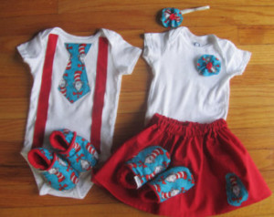 Twin First Birthday Dr. Suess Match ing Onesie Outfits / Shoes ...