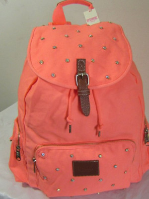 Victoria's Secret Love Pink Backpack Bling Rhinestone Stud Orange
