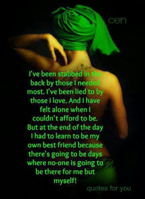 been stabbed in the back..