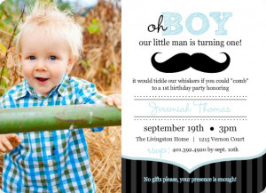 Blue And Black Moustache 1st Birthday Invitation