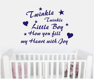Details about Wall art quote sticker decal baby boy nursery Twinkle