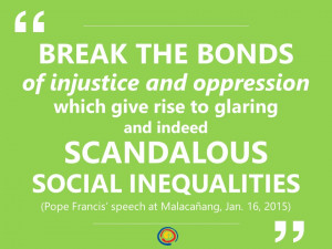 ... social inequalities. (Pope Francis' speech at Malacañang, Jan. 16