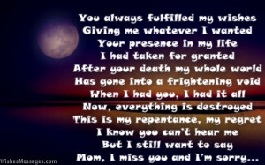 miss you poems for deceased mother