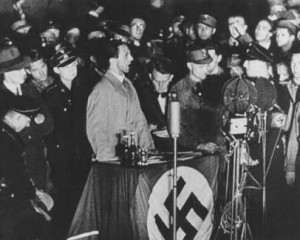 ... , speaks on the night of book burning. Berlin, Germany, May 10, 1933