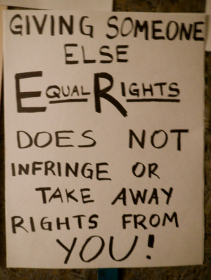 giving someone else equal rights does not infringe or take away your ...