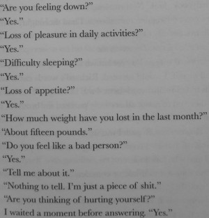 depression quotes about self harm