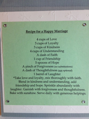 Bridal Shower Recipe Poem
