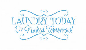 Today or Naked Tomorrow Vinyl Wall Decal - Laundry Room Wall Quote ...