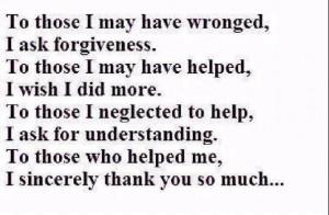 sorry Please forgive me Thank You I love you