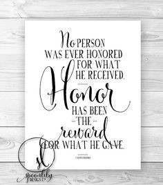 Military Quote, Honor quote, Wall Art, Home Decor, Typography Quote ...