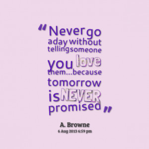 Quotes Picture: never go a day without telling someone you love ...