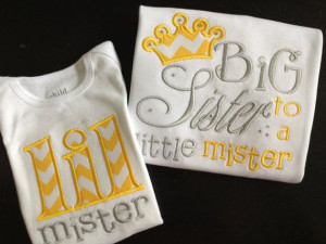 Big Sister / Little Brother Shirt Set (Yellow)