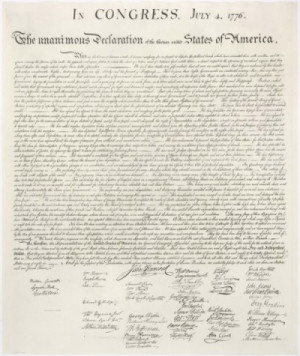 Declaration of Independence with Franklin's signature