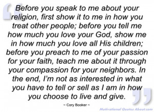 before you speak to me about your religion cory booker