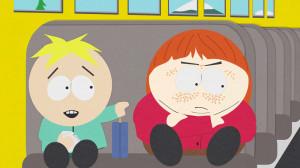 Cartman versucht, die Ironie seiner Rotsucht runterzuspielen. Butters ...