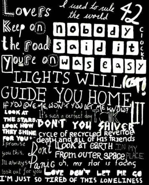 Coldplay Collage of lyrics