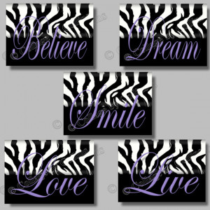 ... Dream LIVE Love Believe Quote Art Girl Room Wall Decor Black and White