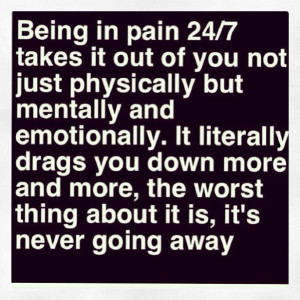 Being In Pain 24/7...tired of my nearest and dearest not understanding